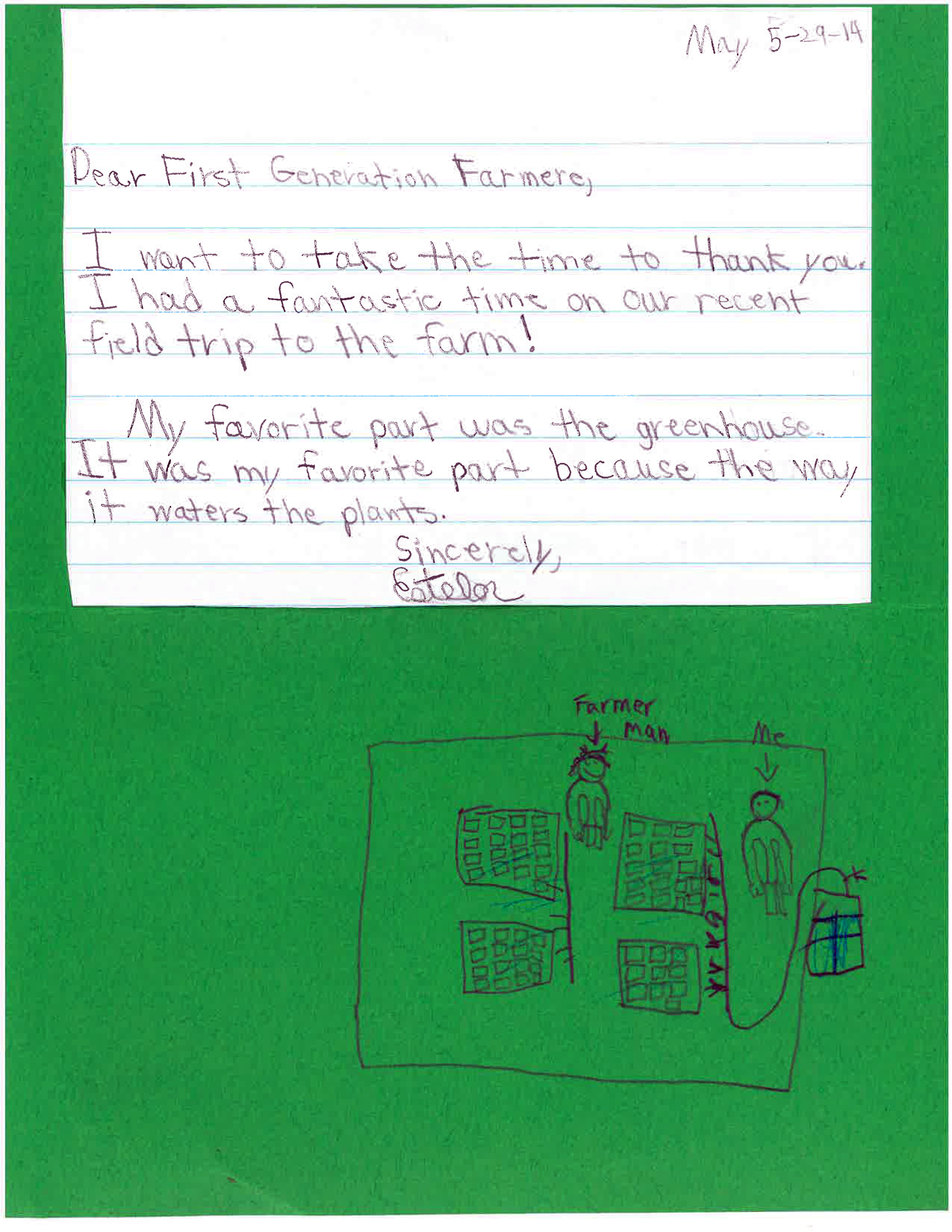 Another letter from student to first generation farmers