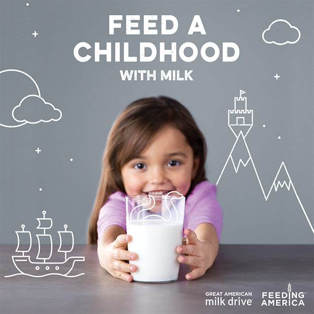 Child holding glass of milk. Text on Poster:Feed a Childhood with Milk